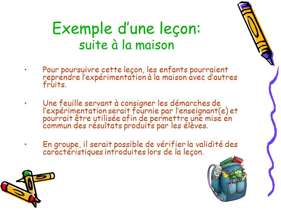 Exemple dune leçon: suite à la maison Pour poursuivre cette leçon, les enfants pourraient reprendre lexpérimentation à la maison avec dautres fruits.