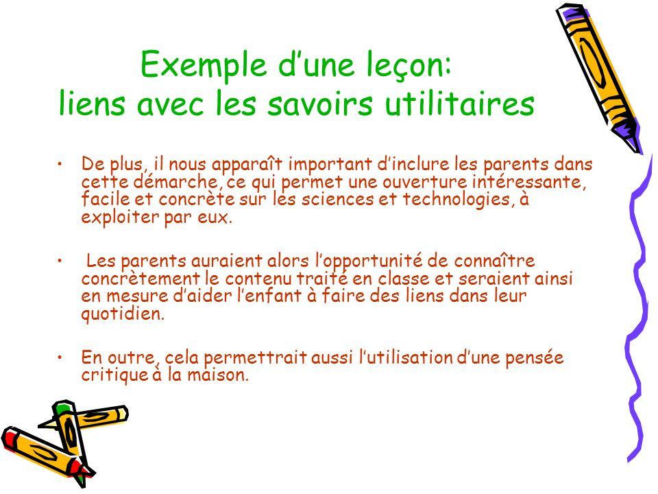 Exemple dune leçon: liens avec les savoirs utilitaires De plus, il nous apparaît important dinclure les parents dans cette démarche, ce qui permet une