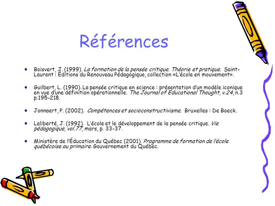 Références Boisvert, J. (1999). La formation de la pensée critique. Théorie et pratique. Saint- Laurent : Éditions du Renouveau Pédagogique, collectio