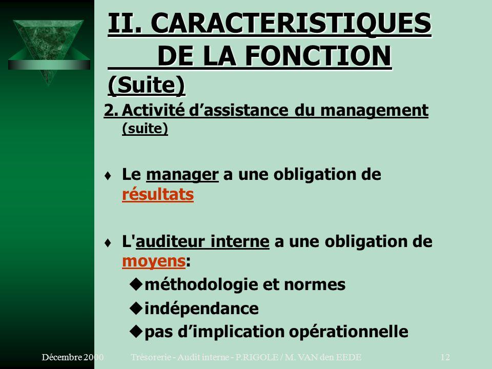 Décembre 2000Trésorerie - Audit interne - P.RIGOLE / M. VAN den EEDE11 II. CARACTERISTIQUES DE LA FONCTION (Suite) 2.Activité dassistance du managemen