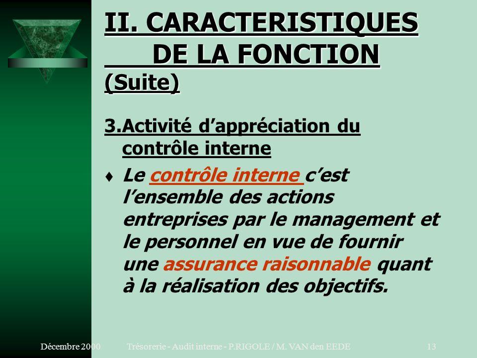 Décembre 2000Trésorerie - Audit interne - P.RIGOLE / M. VAN den EEDE12 II. CARACTERISTIQUES DE LA FONCTION (Suite) 2.Activité dassistance du managemen