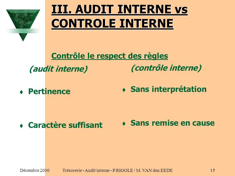 Décembre 2000Trésorerie - Audit interne - P.RIGOLE / M. VAN den EEDE14 II. CARACTERISTIQUES DE LA FONCTION (Suite) 3. Activité dappréciation du contrô