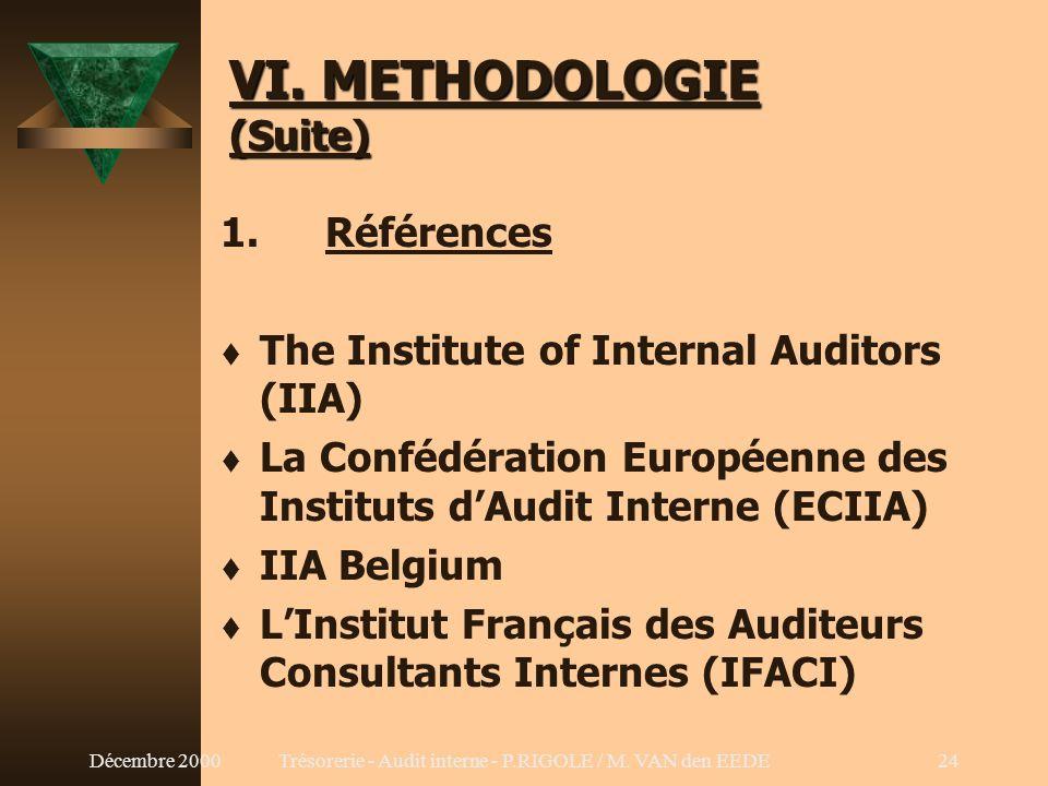 Décembre 2000Trésorerie - Audit interne - P.RIGOLE / M. VAN den EEDE23 VI. METHODOLOGIE 1. Références 2. Déclaration des responsabilités 3.Code de déo