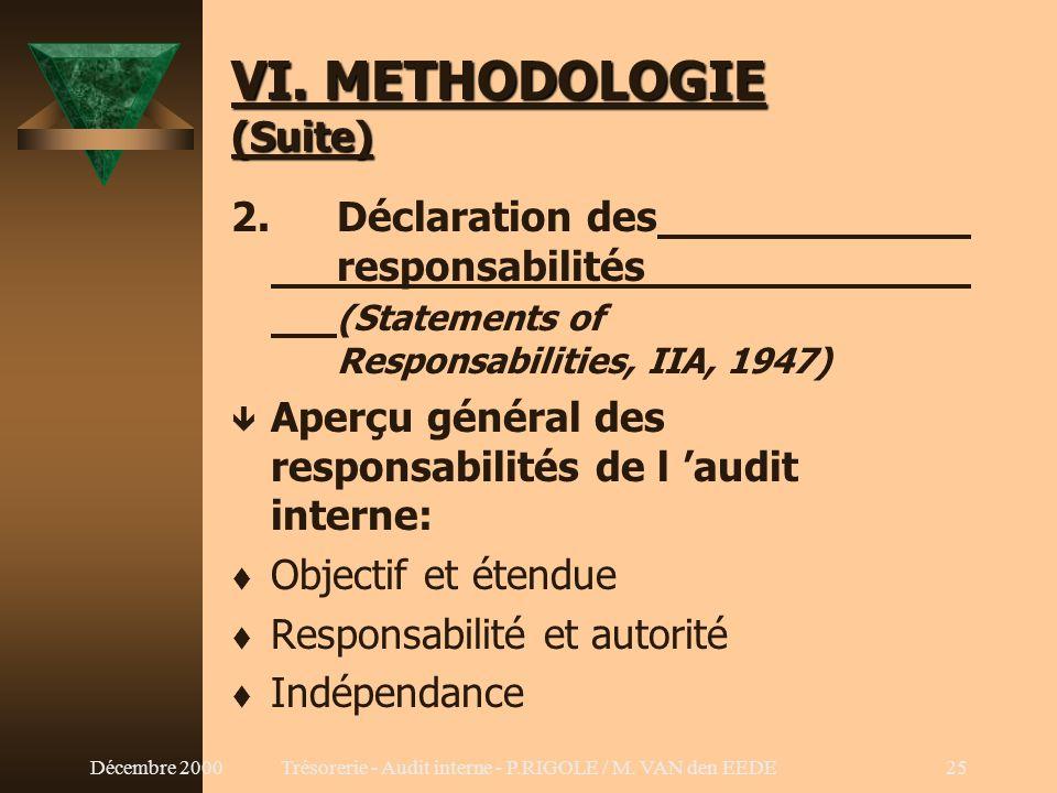 Décembre 2000Trésorerie - Audit interne - P.RIGOLE / M. VAN den EEDE24 VI. METHODOLOGIE (Suite) 1. Références t The Institute of Internal Auditors (II