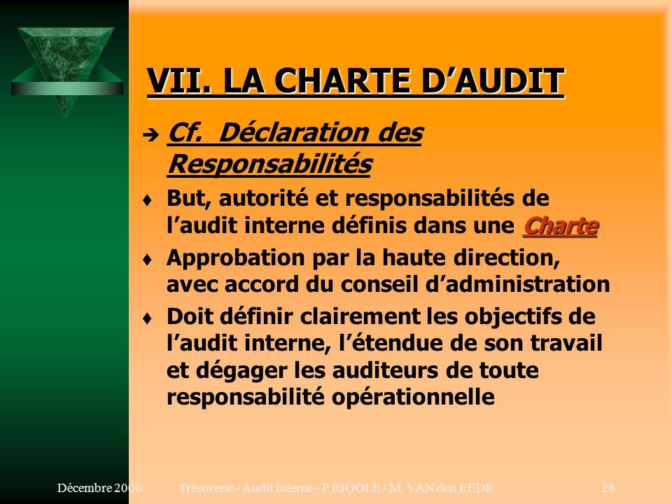 Décembre 2000Trésorerie - Audit interne - P.RIGOLE / M. VAN den EEDE27 VI. METHODOLOGIE (Suite) 4.Normes t Indépendance (100) t Compétence professionn