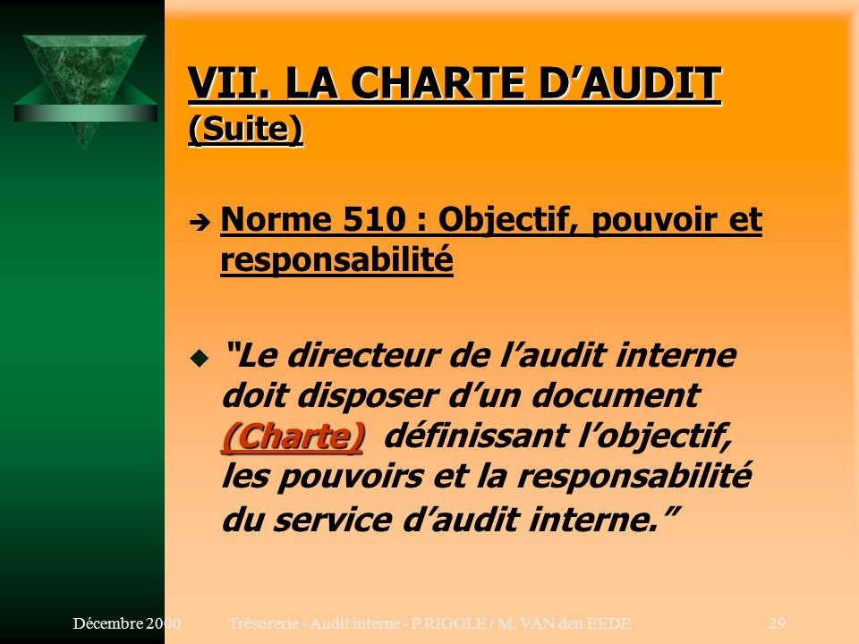 Décembre 2000Trésorerie - Audit interne - P.RIGOLE / M. VAN den EEDE28 VII. LA CHARTE DAUDIT è Cf. Déclaration des Responsabilités Charte t But, autor