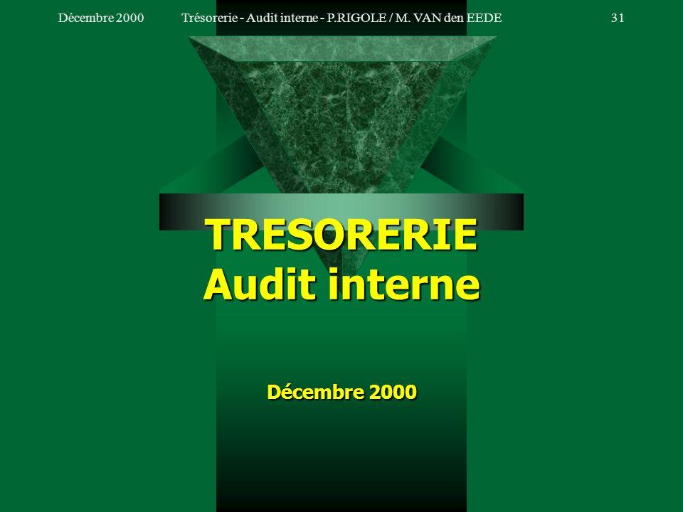 Décembre 2000Trésorerie - Audit interne - P.RIGOLE / M. VAN den EEDE30 VII. LA CHARTE DAUDIT (Suite) La charte daudit de la trésorerie 1.Objectif 2.Ch