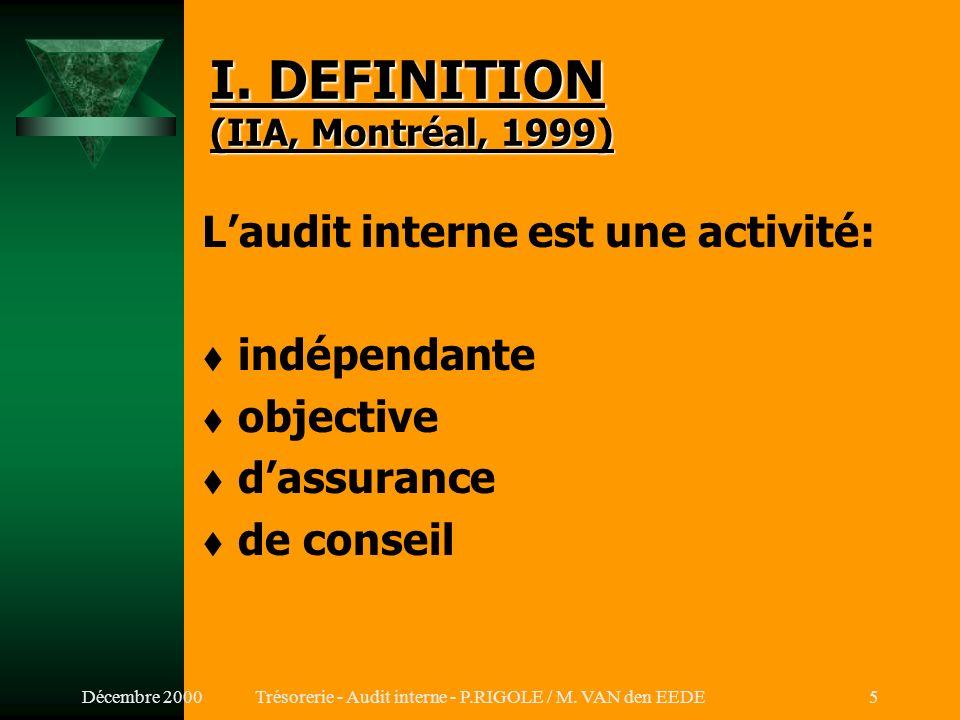 Décembre 2000Trésorerie - Audit interne - P.RIGOLE / M. VAN den EEDE4 SOMMAIRE I.DEFINITION II.CARACTERISTIQUES DE LA FONCTION III.AUDIT INTERNE vs CO