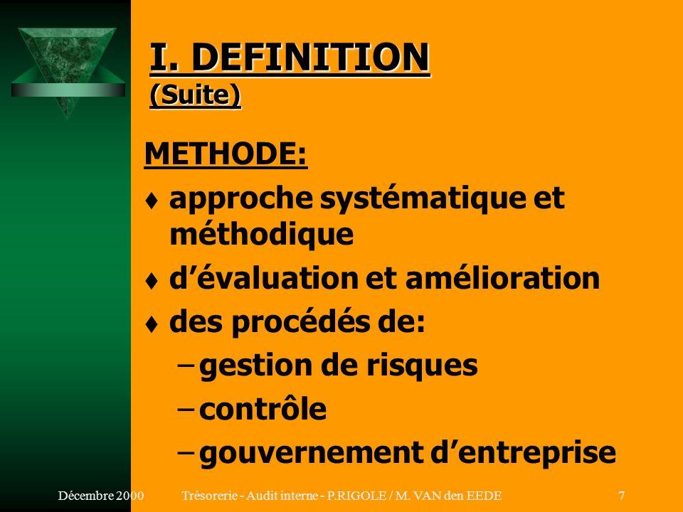 Décembre 2000Trésorerie - Audit interne - P.RIGOLE / M. VAN den EEDE6 I. DEFINITION (Suite) MISSION: t apporter une valeur ajoutée t améliorer le fonc