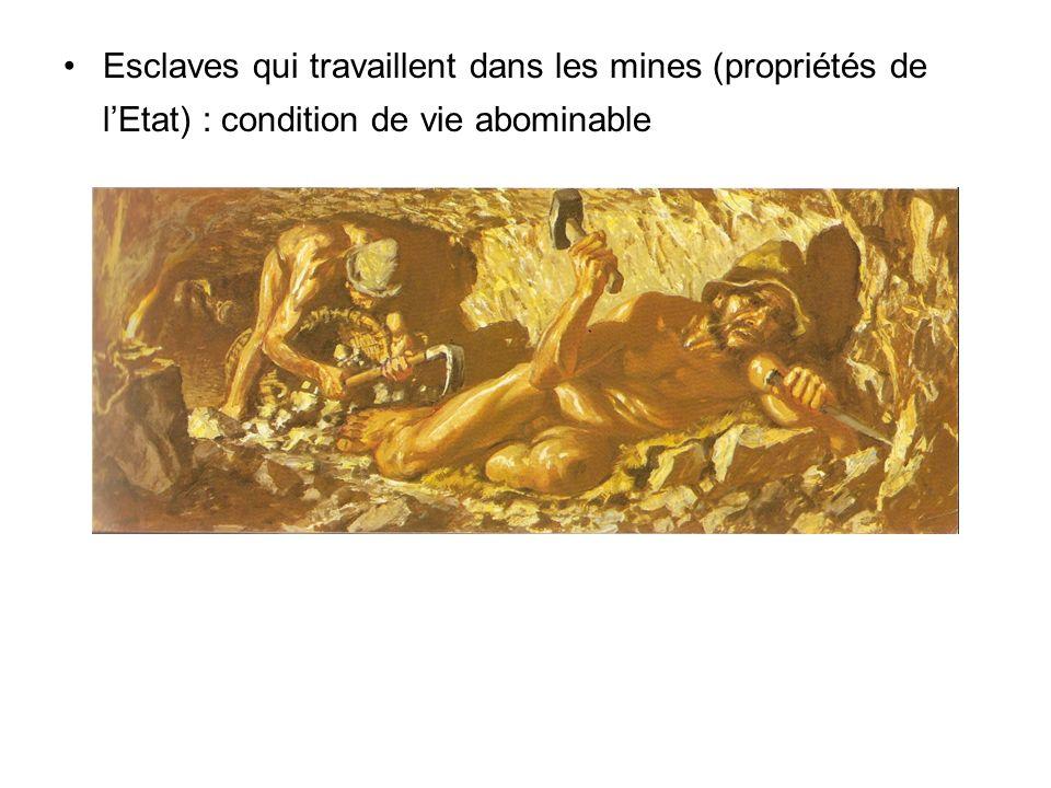 Esclaves qui travaillent dans les mines (propriétés de lEtat) : condition de vie abominable
