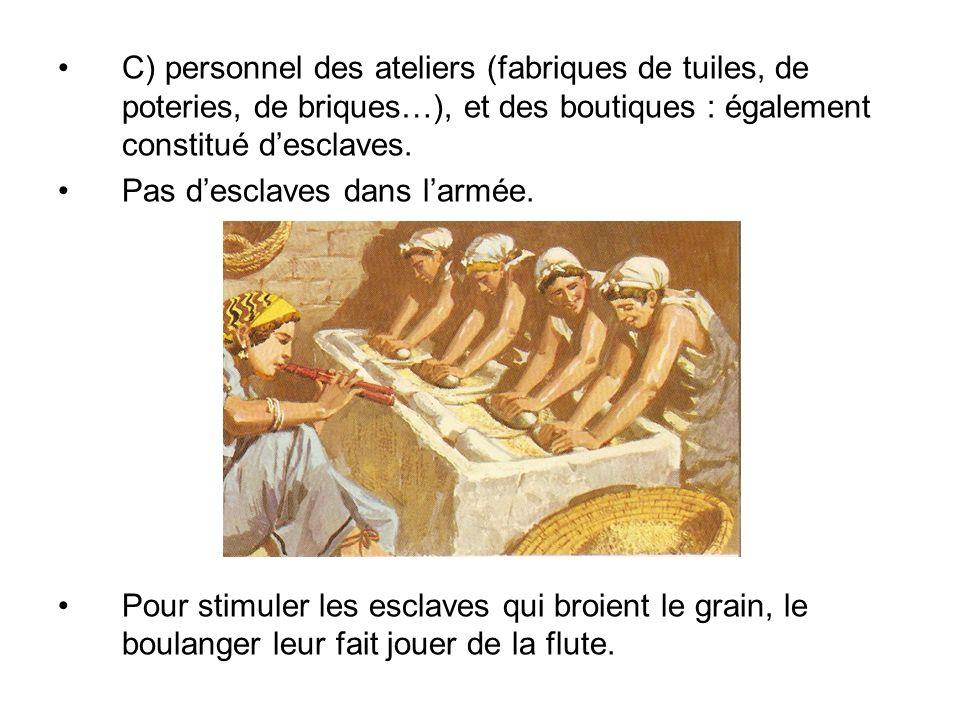 C) personnel des ateliers (fabriques de tuiles, de poteries, de briques…), et des boutiques : également constitué desclaves. Pas desclaves dans larmée