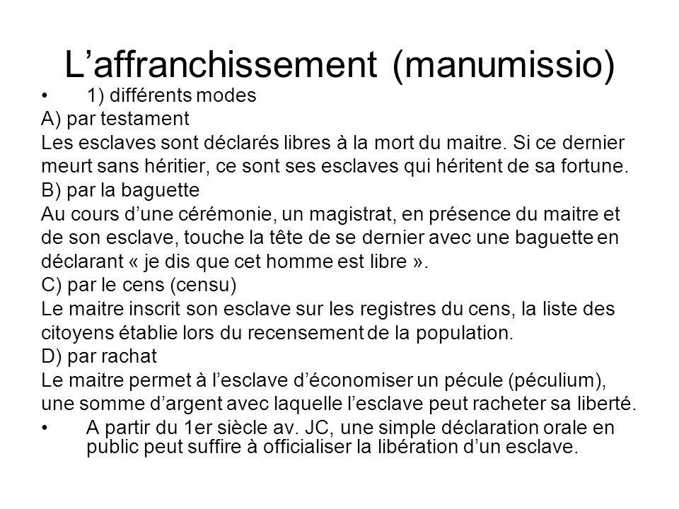 Laffranchissement (manumissio) 1) différents modes A) par testament Les esclaves sont déclarés libres à la mort du maitre. Si ce dernier meurt sans hé