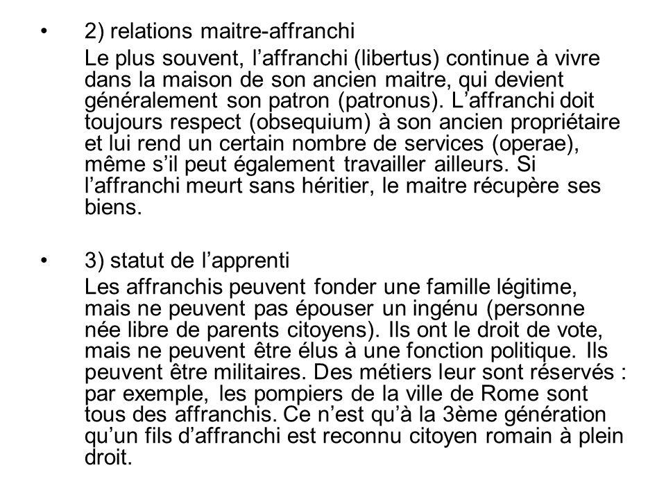 2) relations maitre-affranchi Le plus souvent, laffranchi (libertus) continue à vivre dans la maison de son ancien maitre, qui devient généralement son patron (patronus).