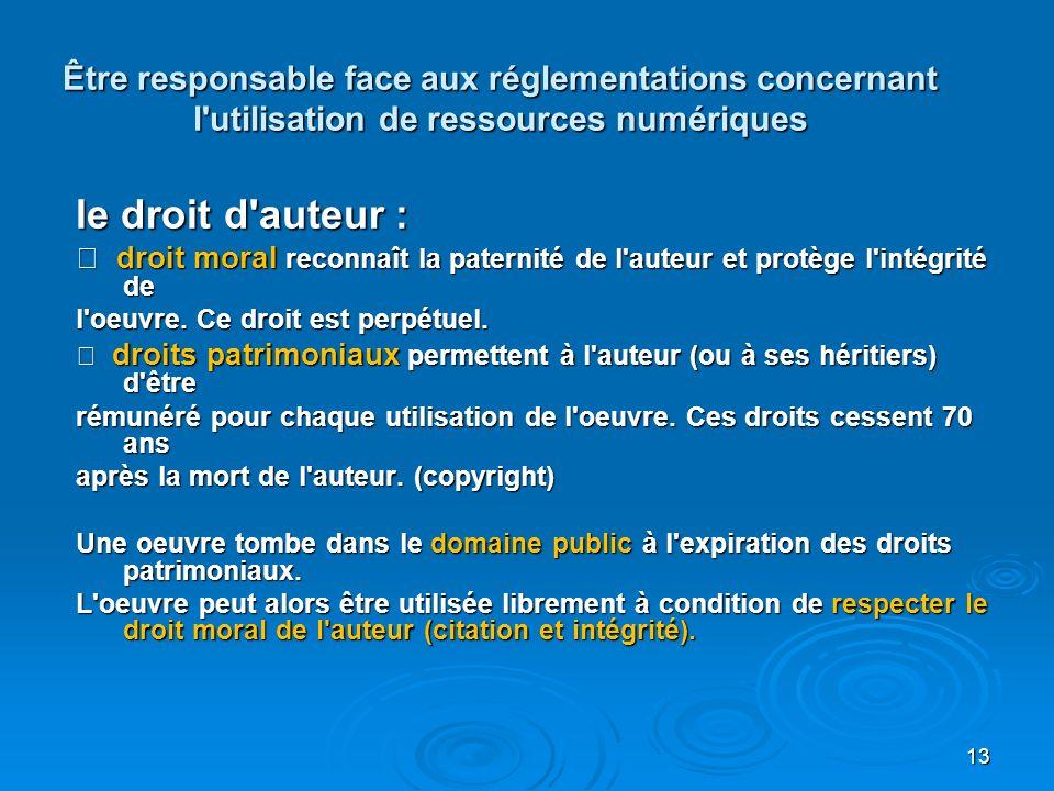 Être responsable face aux réglementations concernant l utilisation de ressources numériques le droit d auteur : droit moral reconnaît la paternité de l auteur et protège l intégrité de droit moral reconnaît la paternité de l auteur et protège l intégrité de l oeuvre.