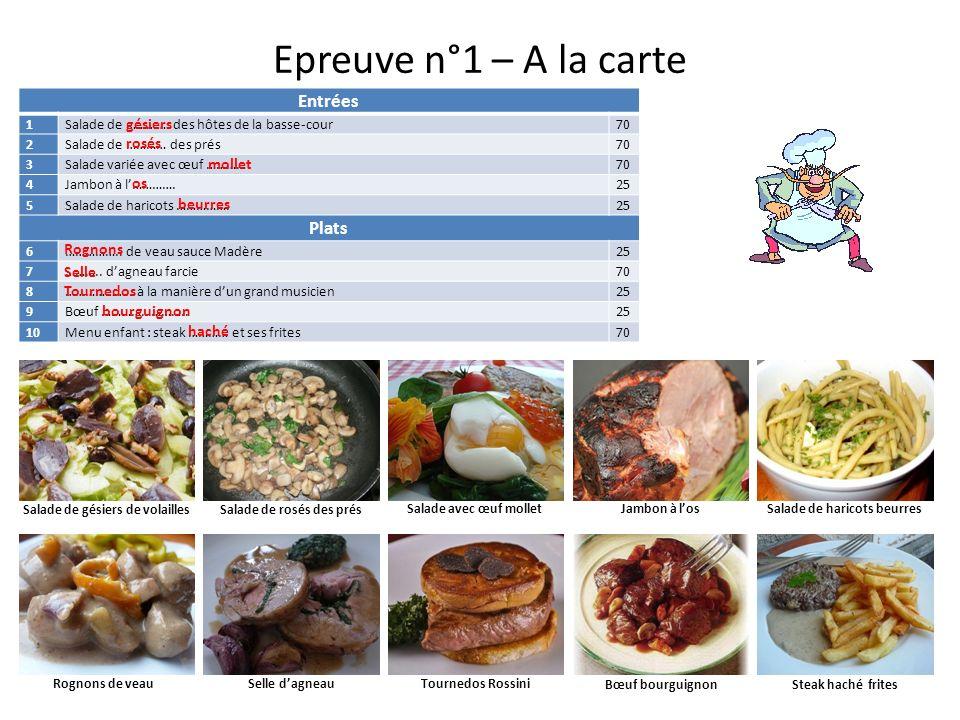Epreuve n°1 – A la carte Entrées 1Salade de …………. des hôtes de la basse-cour70 2Salade de ………… des prés70 3Salade variée avec œuf …………70 4Jambon à l……