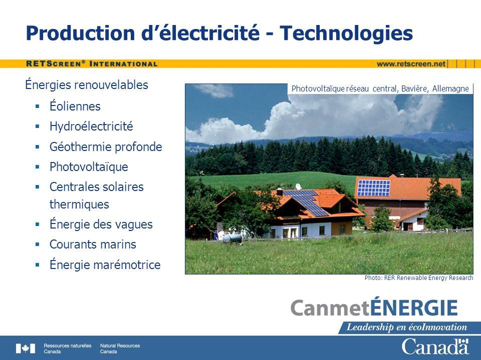 Production délectricité - Technologies Photo: RER Renewable Energy Research Photovoltaïque réseau central, Bavière, Allemagne Énergies renouvelables Éoliennes Hydroélectricité Géothermie profonde Photovoltaïque Centrales solaires thermiques Énergie des vagues Courants marins Énergie marémotrice