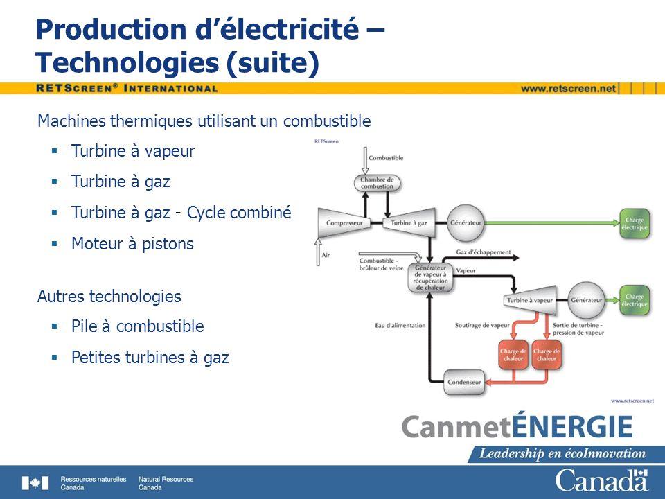 Installations de production délectricité Principes de fonctionnement Exemple d une turbine à gaz Admission et compression dair Entrée du combustible Combustion Turbine Génératrice Récupération de la chaleur des gaz déchappement – Production de vapeur Définitions Consommation spécifique : quantité dénergie primaire (en kJ ou Btu) nécessaire en combustible pour produire 1 kWh d électricité Taux de récupération de chaleur : pourcentage récupéré et utilisé de la chaleur dégagée par la production d électricité