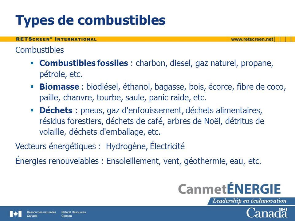 Types de combustibles Combustibles Combustibles fossiles : charbon, diesel, gaz naturel, propane, pétrole, etc. Biomasse : biodiésel, éthanol, bagasse