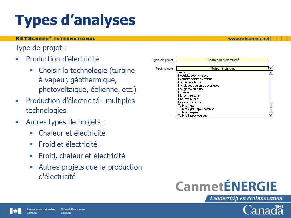 Types danalyses Type de projet : Production délectricité Choisir la technologie (turbine à vapeur, géothermique, photovoltaïque, éolienne, etc.) Produ