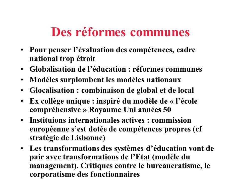 Des réformes communes Pour penser lévaluation des compétences, cadre national trop étroit Globalisation de léducation : réformes communes Modèles surp