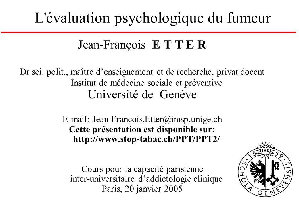 Jean-François E T T E R Dr sci. polit., maître denseignement et de recherche, privat docent Institut de médecine sociale et préventive Université de G