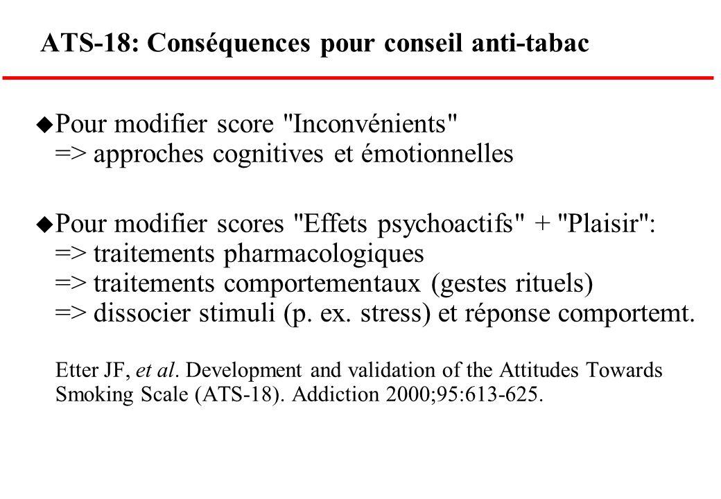 ATS-18: Conséquences pour conseil anti-tabac u Pour modifier score