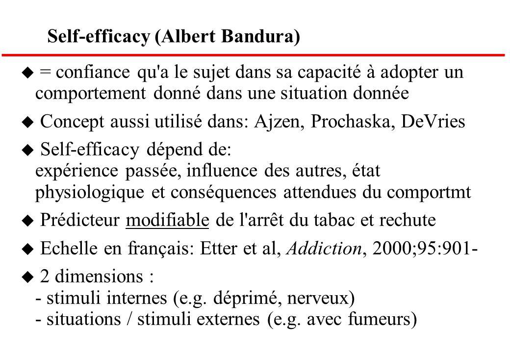 Self-efficacy (Albert Bandura) u = confiance qu'a le sujet dans sa capacité à adopter un comportement donné dans une situation donnée u Concept aussi