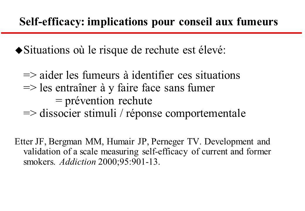 Self-efficacy: implications pour conseil aux fumeurs u Situations où le risque de rechute est élevé: => aider les fumeurs à identifier ces situations