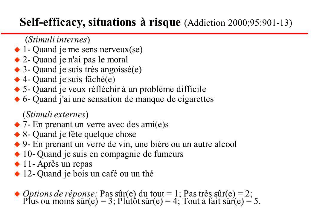 Self-efficacy, situations à risque (Addiction 2000;95:901-13) (Stimuli internes) u 1- Quand je me sens nerveux(se) u 2- Quand je n'ai pas le moral u 3