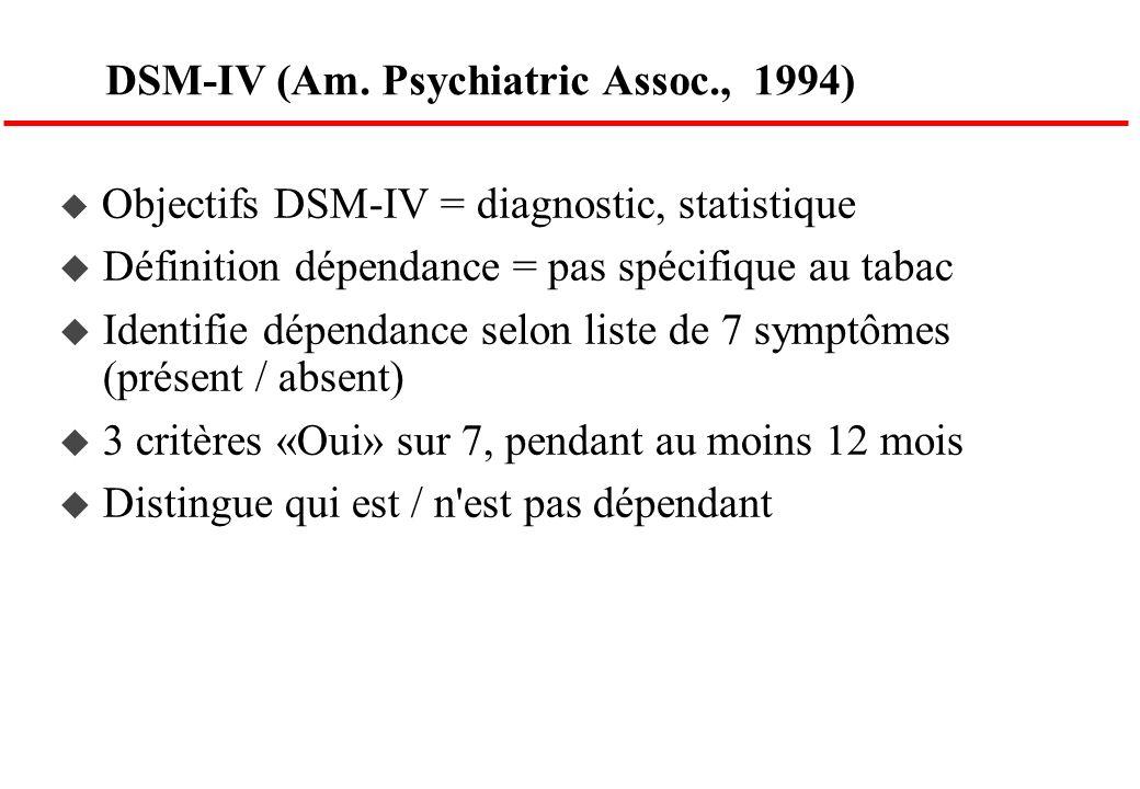 DSM-IV (Am. Psychiatric Assoc., 1994) Objectifs DSM-IV = diagnostic, statistique Définition dépendance = pas spécifique au tabac Identifie dépendance