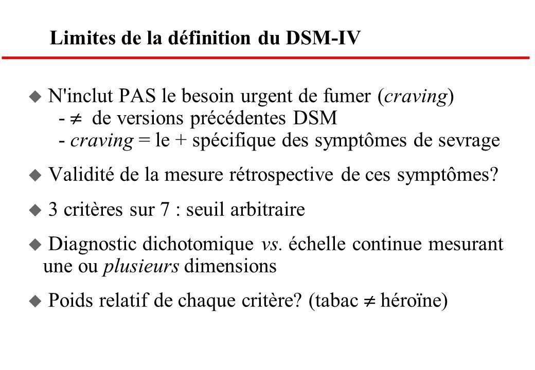 Limites de la définition du DSM-IV u N'inclut PAS le besoin urgent de fumer (craving) - de versions précédentes DSM - craving = le + spécifique des sy