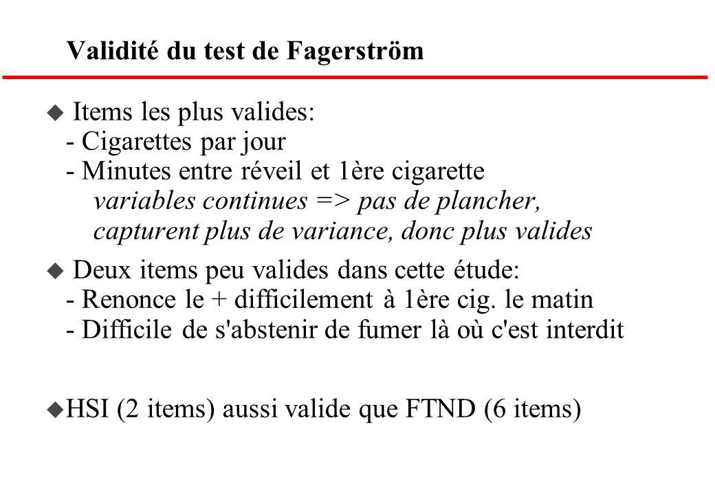 Validité du test de Fagerström Items les plus valides: - Cigarettes par jour - Minutes entre réveil et 1ère cigarette variables continues => pas de pl