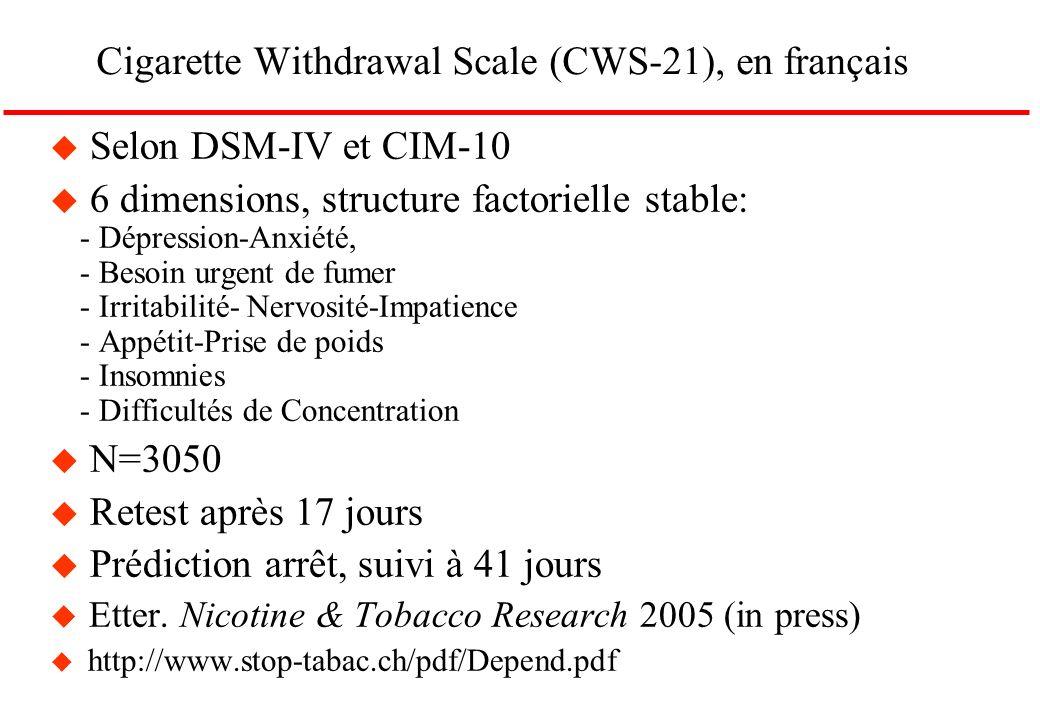 Cigarette Withdrawal Scale (CWS-21), en français u Selon DSM-IV et CIM-10 u 6 dimensions, structure factorielle stable: - Dépression-Anxiété, - Besoin