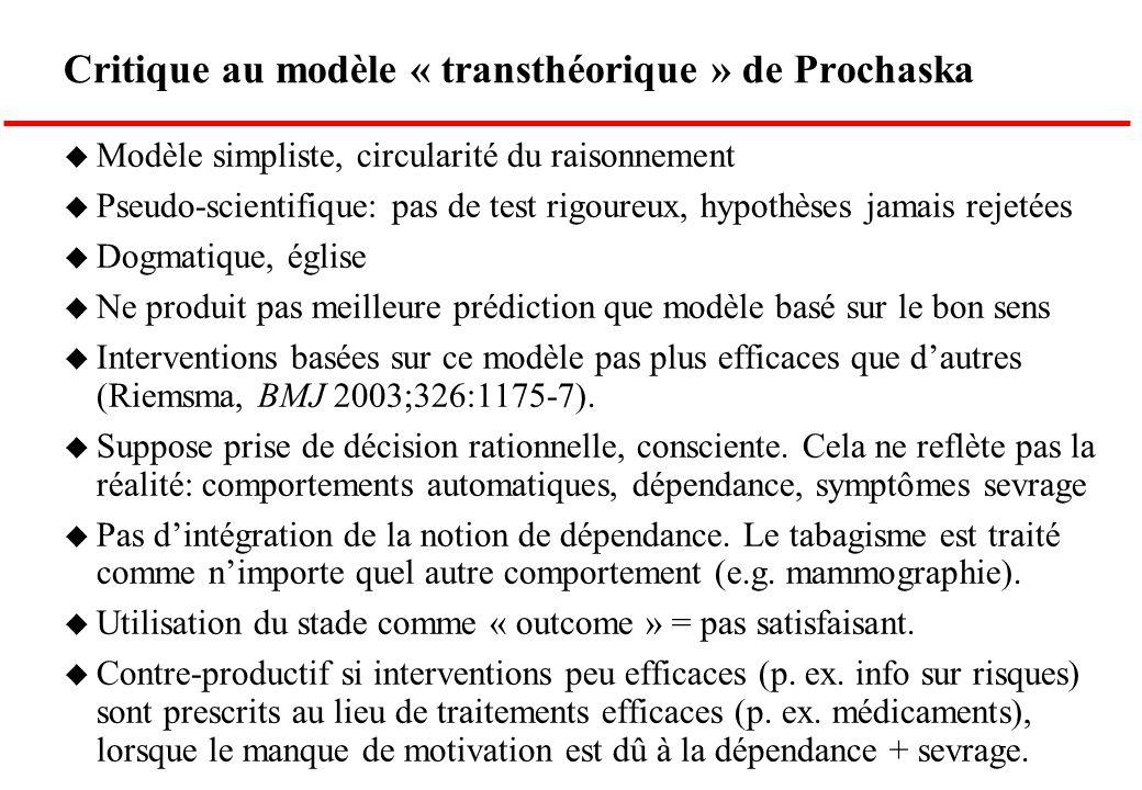 Critique au modèle « transthéorique » de Prochaska u Modèle simpliste, circularité du raisonnement u Pseudo-scientifique: pas de test rigoureux, hypot