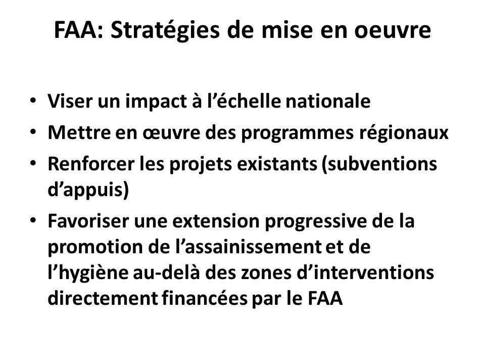 FAA: Stratégies de mise en oeuvre Viser un impact à léchelle nationale Mettre en œuvre des programmes régionaux Renforcer les projets existants (subve