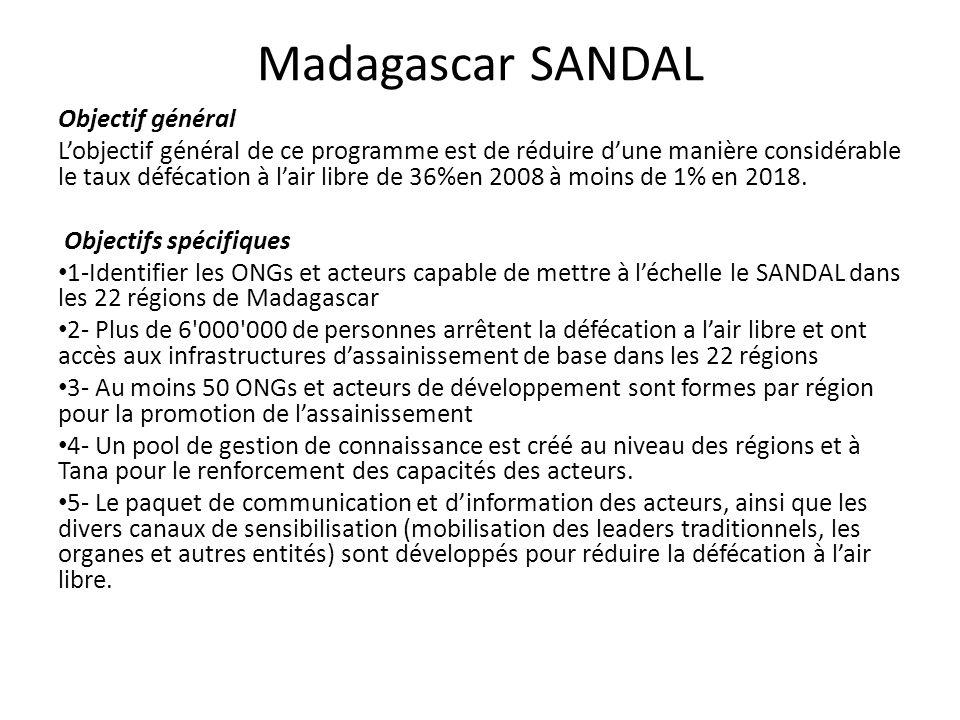 Madagascar SANDAL Objectif général Lobjectif général de ce programme est de réduire dune manière considérable le taux défécation à lair libre de 36%en