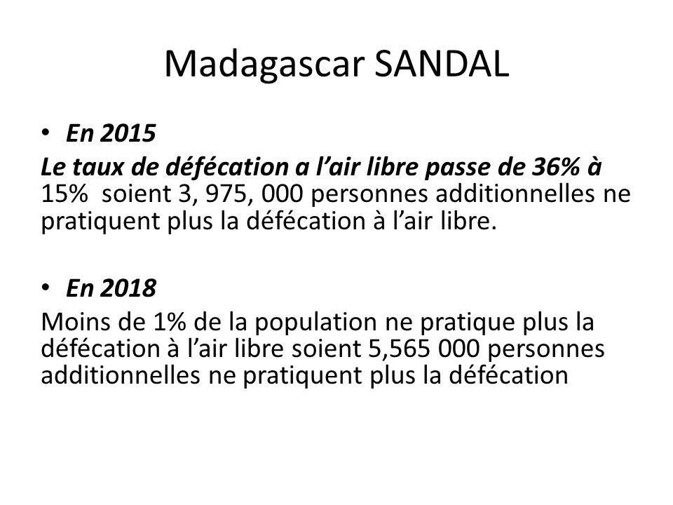 Madagascar SANDAL En 2015 Le taux de défécation a lair libre passe de 36% à 15% soient 3, 975, 000 personnes additionnelles ne pratiquent plus la défé