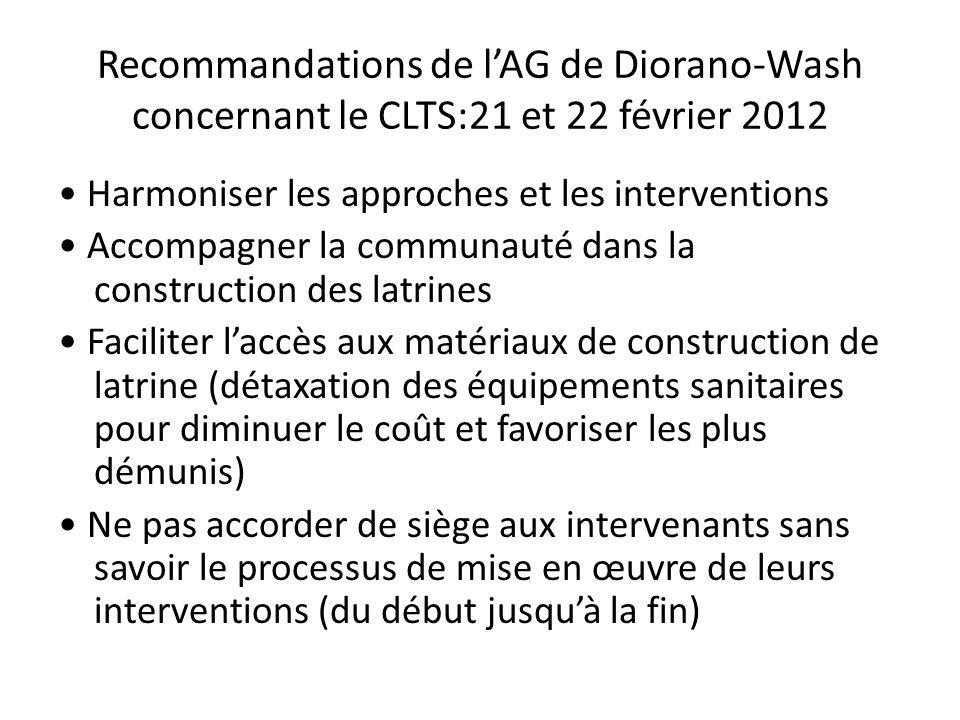 Recommandations de lAG de Diorano-Wash concernant le CLTS:21 et 22 février 2012 Harmoniser les approches et les interventions Accompagner la communaut