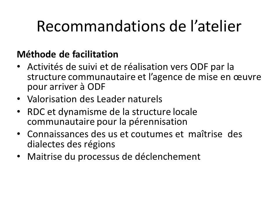 Recommandations de latelier Méthode de facilitation Activités de suivi et de réalisation vers ODF par la structure communautaire et lagence de mise en