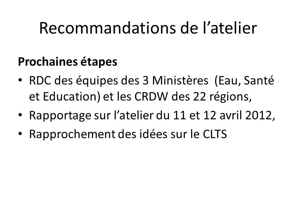 Recommandations de latelier Prochaines étapes RDC des équipes des 3 Ministères (Eau, Santé et Education) et les CRDW des 22 régions, Rapportage sur la