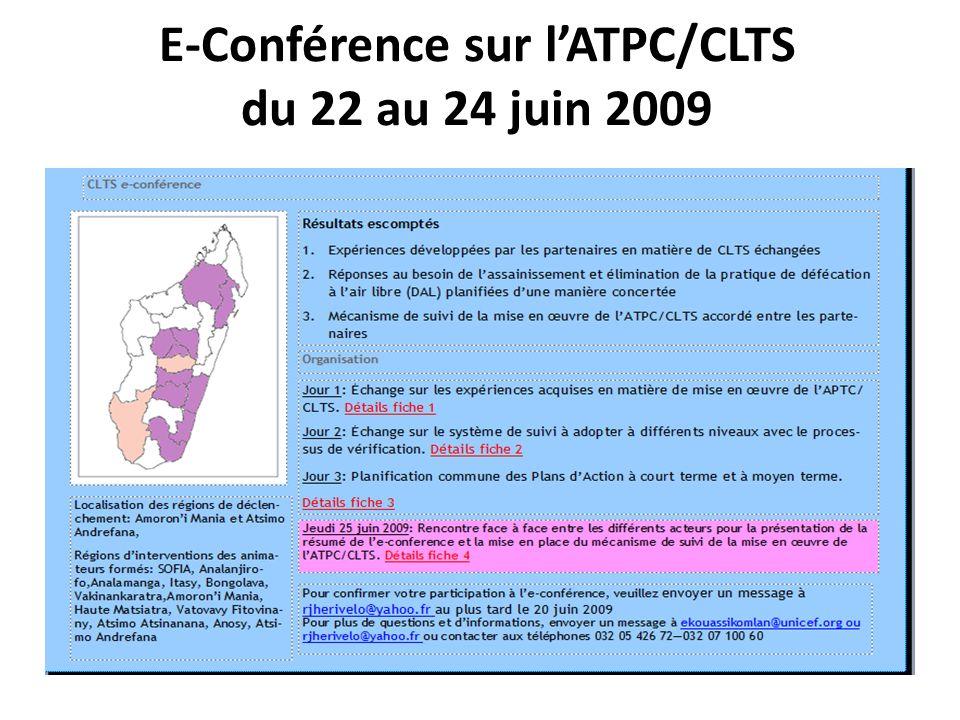 E-Conférence sur lATPC/CLTS du 22 au 24 juin 2009