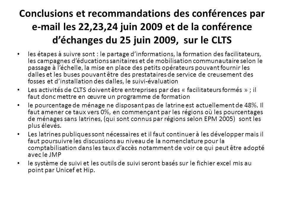 Conclusions et recommandations des conférences par e-mail les 22,23,24 juin 2009 et de la conférence déchanges du 25 juin 2009, sur le CLTS les étapes