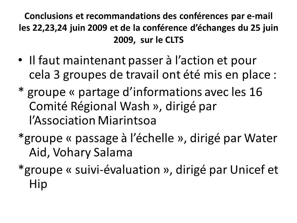 Recommandations de latelier Prochaines étapes RDC des équipes des 3 Ministères (Eau, Santé et Education) et les CRDW des 22 régions, Rapportage sur latelier du 11 et 12 avril 2012, Rapprochement des idées sur le CLTS