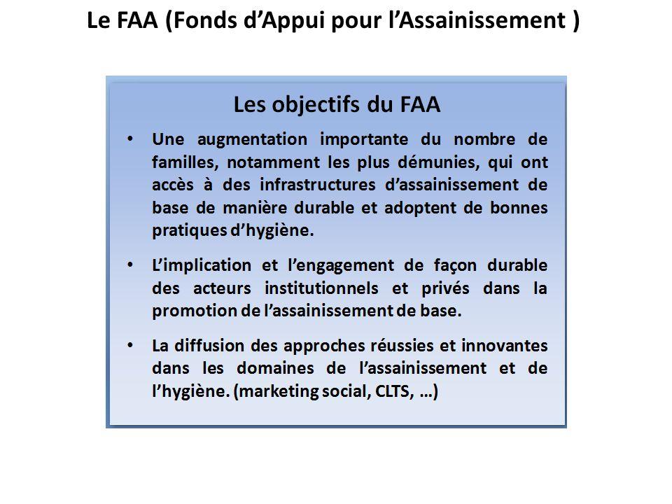 FAA: Stratégies de mise en oeuvre Viser un impact à léchelle nationale Mettre en œuvre des programmes régionaux Renforcer les projets existants (subventions dappuis) Favoriser une extension progressive de la promotion de lassainissement et de lhygiène au-delà des zones dinterventions directement financées par le FAA