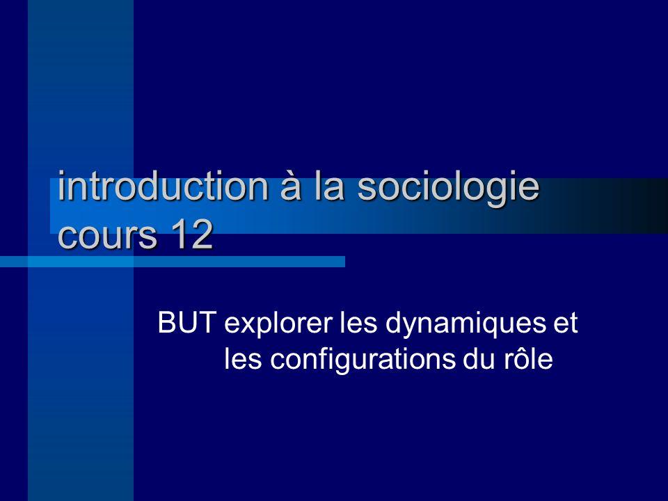 introduction à la sociologie cours 12 BUTexplorer les dynamiques et les configurations du rôle
