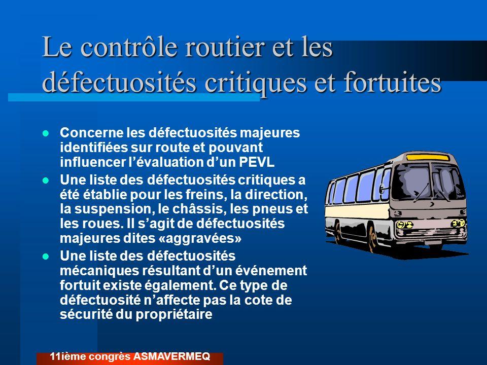 Le contrôle routier et les défectuosités critiques et fortuites Concerne les défectuosités majeures identifiées sur route et pouvant influencer lévalu