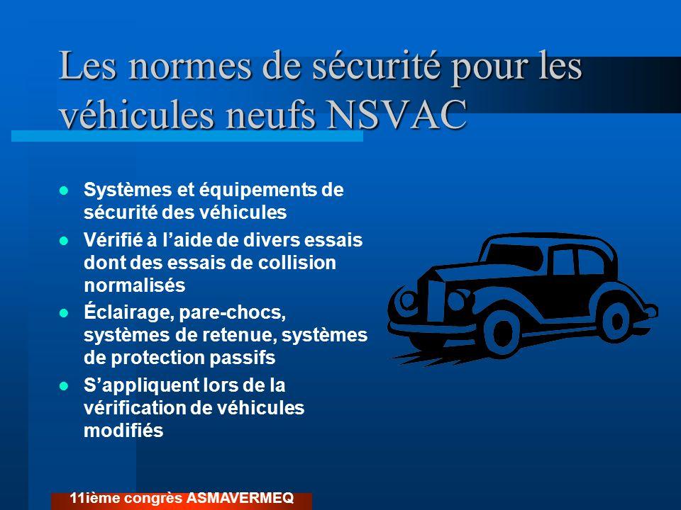 Les normes de sécurité pour les véhicules neufs NSVAC Systèmes et équipements de sécurité des véhicules Vérifié à laide de divers essais dont des essa