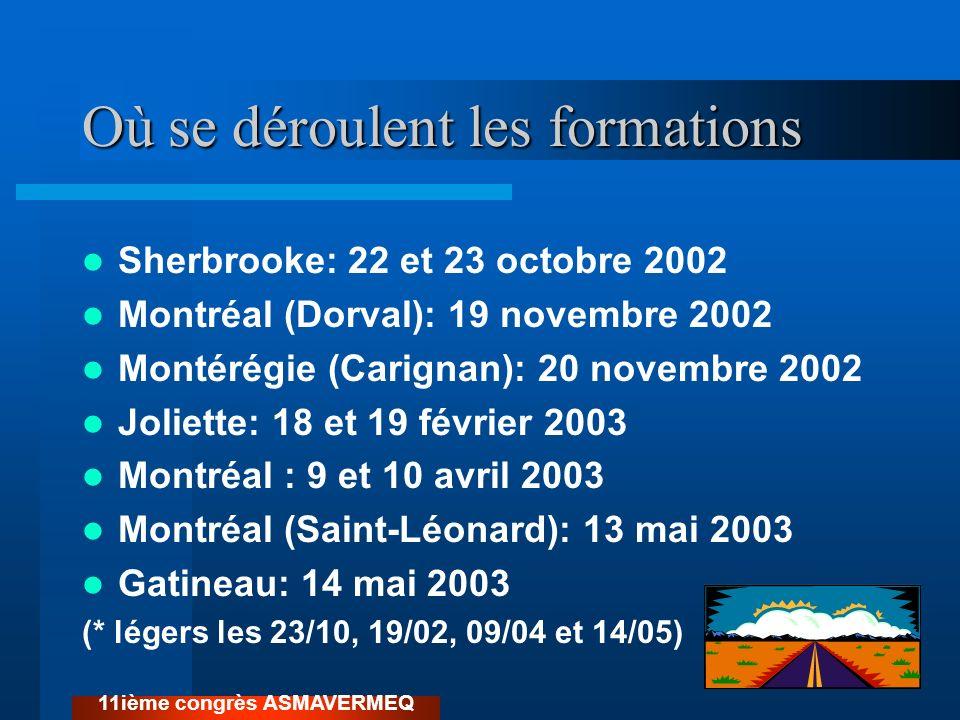 Où se déroulent les formations Sherbrooke: 22 et 23 octobre 2002 Montréal (Dorval): 19 novembre 2002 Montérégie (Carignan): 20 novembre 2002 Joliette: