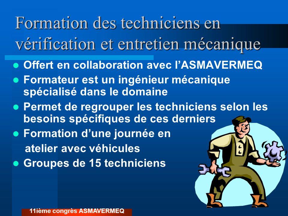 Où se déroulent les formations Sherbrooke: 22 et 23 octobre 2002 Montréal (Dorval): 19 novembre 2002 Montérégie (Carignan): 20 novembre 2002 Joliette: 18 et 19 février 2003 Montréal : 9 et 10 avril 2003 Montréal (Saint-Léonard): 13 mai 2003 Gatineau: 14 mai 2003 (* légers les 23/10, 19/02, 09/04 et 14/05) 11ième congrès ASMAVERMEQ