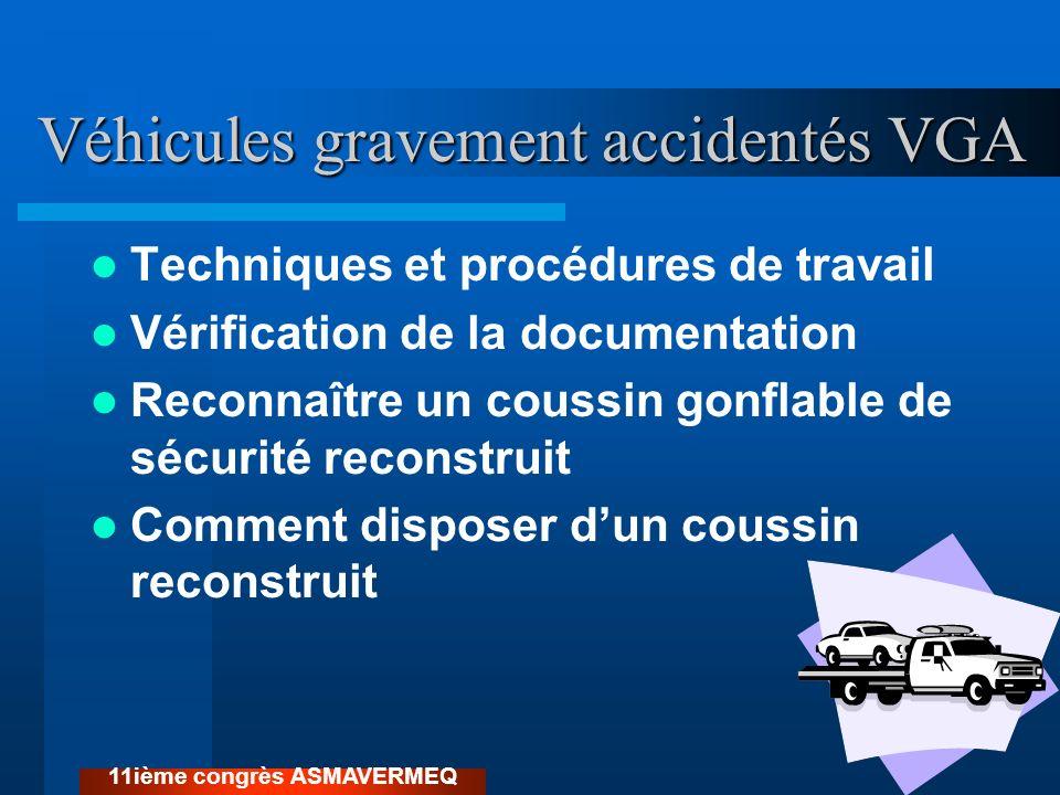Véhicules gravement accidentés VGA Techniques et procédures de travail Vérification de la documentation Reconnaître un coussin gonflable de sécurité r